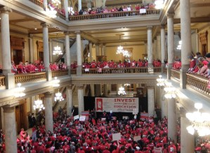 "Over 1,000 teachers rally in Indiana Statehouse March 9. ""They ask us to stay after school and do extra work but with no extra pay,"" elementary school teacher Sandra Butts told the Militant."
