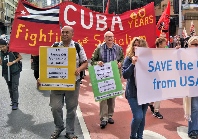 Despite defeat of U.S.-backed coup attempt, Washington continues to threaten Venezuela, and also Cuba. In Sydney, Australia, opponents of U.S. intervention join May 5 march.
