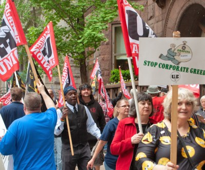 United Electrical Workers members and supporters rallied May 17, part of campaign to defeat Wabtec bosses' demands for two-tier wages and other concessions. Contract runs out June 3.