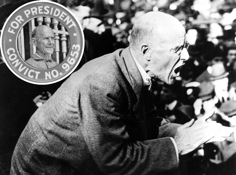 Eugene V. Debs speaks in Canton, Ohio, against imperialist war, June 1918, for which he was sentenced to prison. Inset, campaign button for Debs 1920 Socialist Party campaign for president from prison. He got almost a million votes, highest socialist vote in U.S. history.