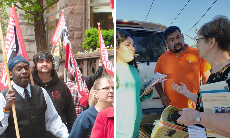 Izq., Malcolm Jarrett, candidato del PST para consejo municipal de Pittsburgh, en línea de piquetes de trabajadores de Wabtec, 17 de mayo. Derecha, Alyson Kennedy haciendo campaña de puerta en puerta en Dallas en 2018.