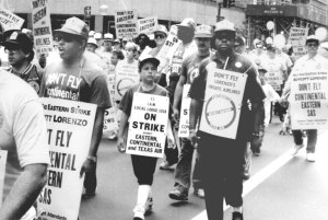 Eastern Airlines strikers and supporters march in New York, September 1989. In efforts to oust President Trump, Times is rewriting history to place the question of 'racism' at the center of all politics, obscuring common interests of working people of all nationalities.