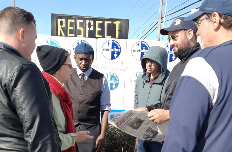 From left, Pierre-Luc Filion, Communist League candidate in Montreal; Alyson Kennedy, Socialist Workers Party 2016 candidate for president; and Malcolm Jarrett, SWP candidate for Pittsburgh City Council, visit United Steelworkers on strike at Galvano plant in Quebec Oct. 10.