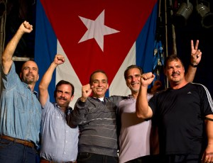 """Cuban Five in Havana, Dec. 20, 2014, after up to 16 years in U.S. prison. From right, Ramón Labañino, René González, Antonio Guerrero, Fernando González and Gerardo Hernández. They won freedom with support of the Cuban people and an international """"jury of millions."""""""