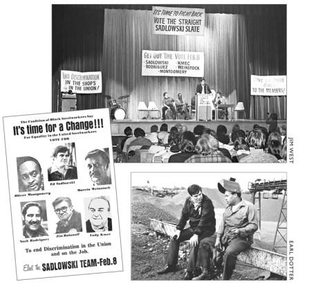 Imágenes de la campaña Obreros del Acero Resisten dirigida por Ed Sadlowski en 1977 tomado de El viraje a la industria: Forjando un partido proletario. Las bases la usaron para enfrentar a la burocracia, combatir la discriminación y luchar por el control democrático de su sindicato.