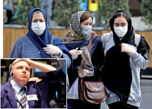 Above, women in Tehran wear masks Feb. 23 after coronavirus outbreak, which has taken over 50 lives in Iran. Inset, trader on New York Stock Exchange. Shares slumped on reports disease has spread to Iran, northern Italy, more as world economy slows.