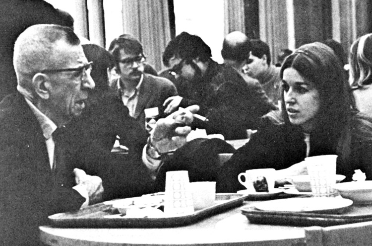 At 1968 Young Socialist Alliance convention Cheryl Goertz has lunch with Ray Dunne, a central leader of Teamsters union battles in Minneapolis in the 1930s and of the SWP.