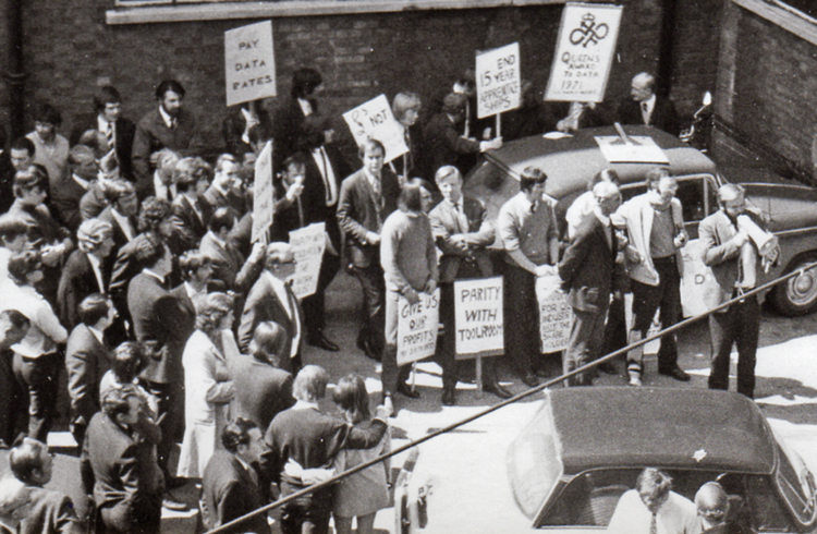 Frank Gorton, far right with bullhorn, was union spokesperson in 1969 demonstration for wage parity between skilled, unskilled workers at Raleigh bike factory in Nottingham, England.