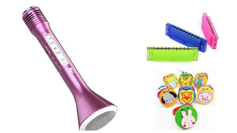 musical toddler stocking stuffers: microphone, harmonica, clappers
