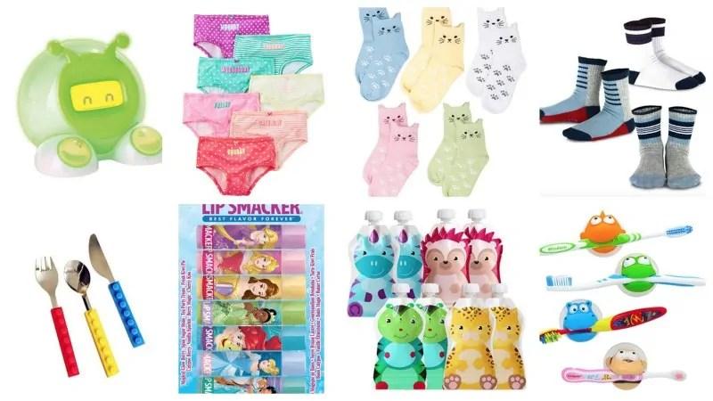 Collage of toddler stocking stuffers like underwear, socks, lip balm, toddler utensils