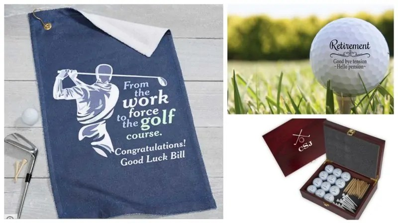 Custom golf balls, towels and golf ball gift set.
