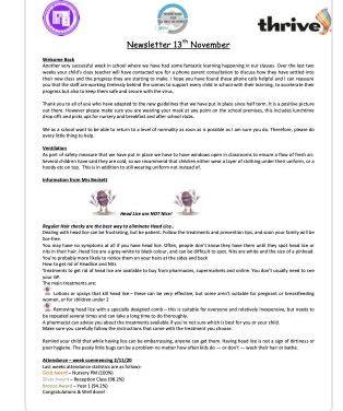 Newsletter 13th November 2020