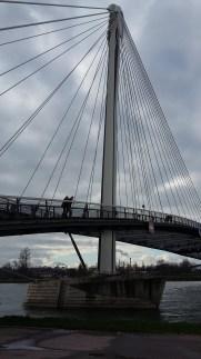 The pedestrian sailboat bridge to take us back to France