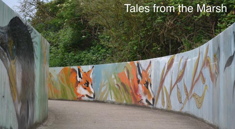 Fox artwork on Walthamstow Marshes