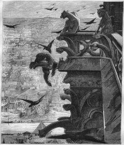 Quasimodo appollaiato su una garguglia (gargoyle)
