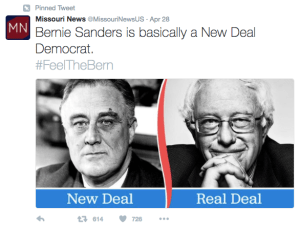 Missouri News, a Russian troll account that Twitter has since deleted (they've been pretty cool about cleaning up their act, unlike Facebook or even worse You Tube) is shown here giving the Sanders campaign a hand.
