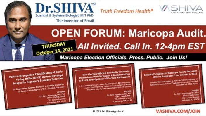 REMINDER: Today at 12-4 Eastern: Dr. Shiva Invites Maricopa Election Officials to Open Dialog on Audit ResultsJordan Conradson