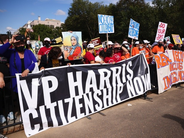Watch: Illegal Aliens Protest for Amnesty Outside Kamala Harris's Home