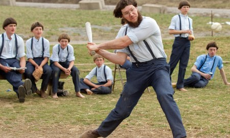 Legendary Amish baseball player Gideon Yoder Hershberger hits a homerun in front of MLB scouts.