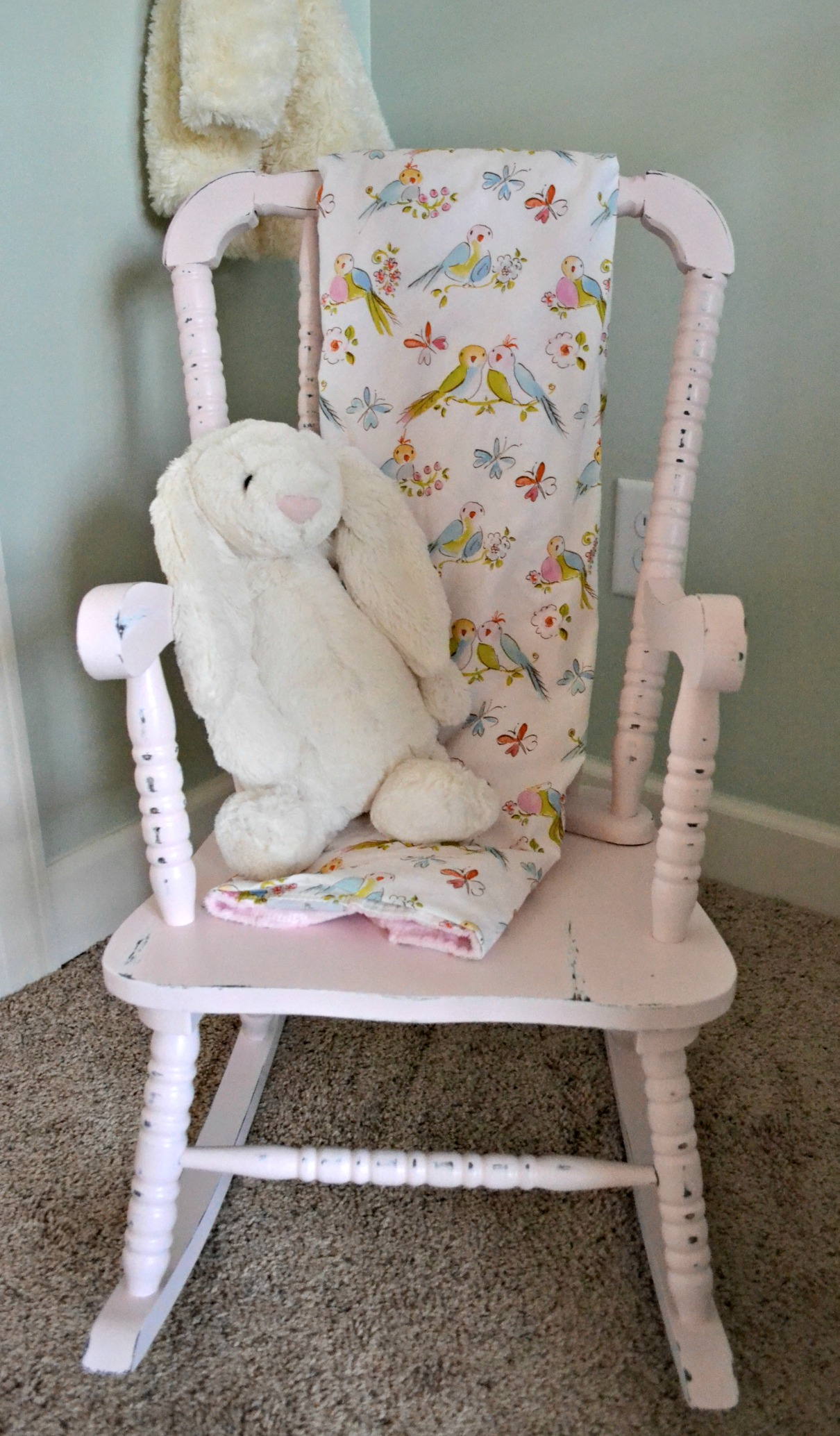 jenny lind rocking chair where to rent covers and sashes kate s nursery reveal the miller lite crib bedding curtains carousel designs changing table small renzi tate furnishings bunny in jelly cat