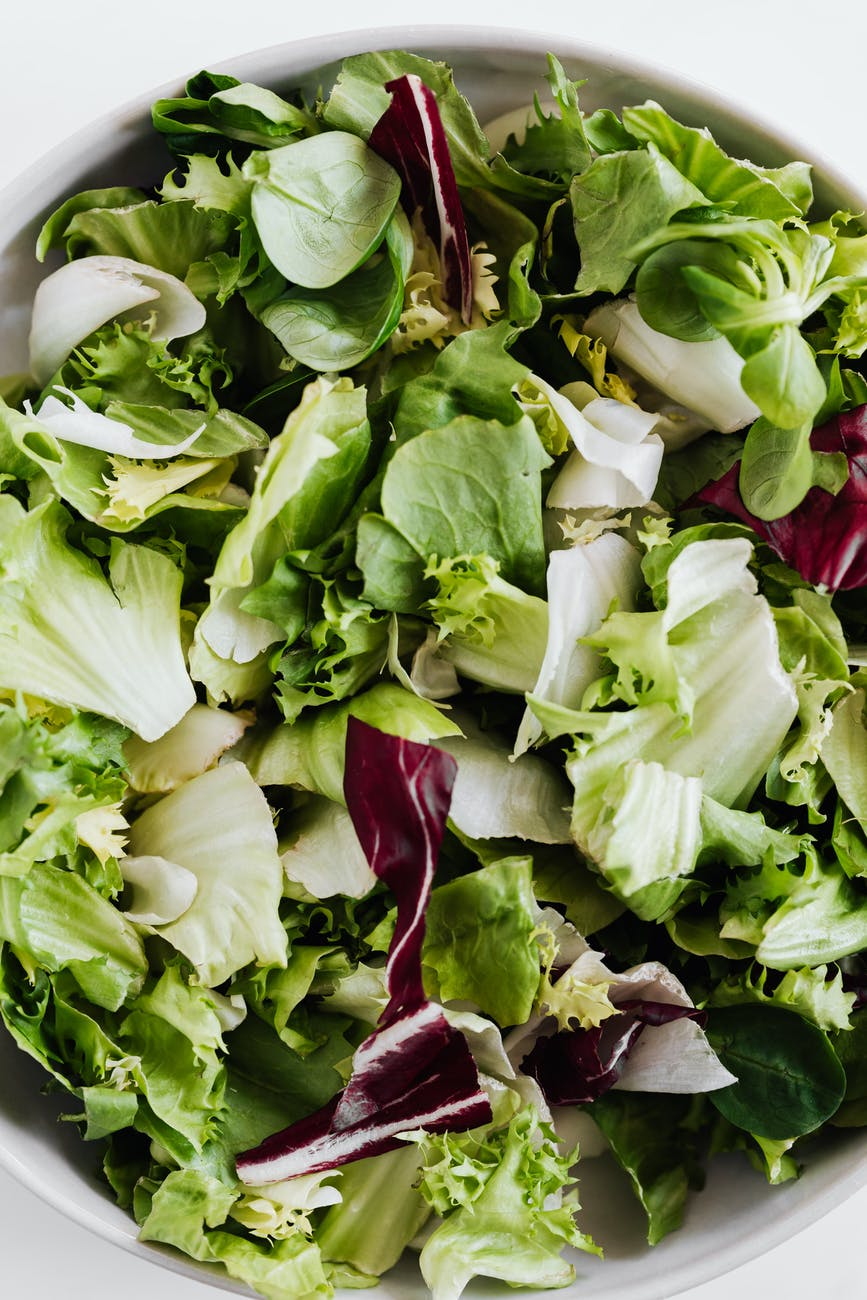 salad with lettuce and spinach