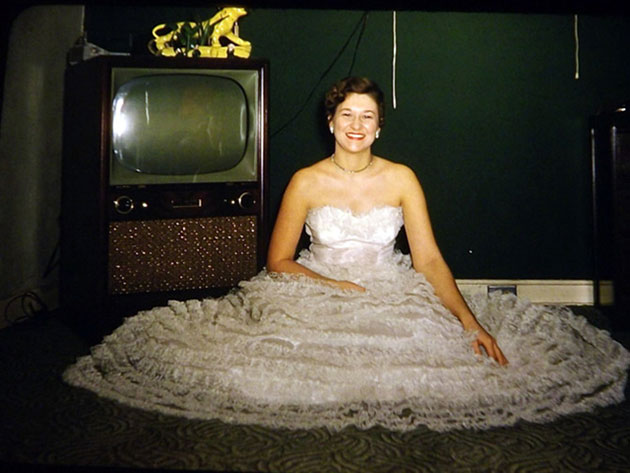 """Go Over There, By the TV"" – 22 Funny Vintage Photos of People Standing Next to Their Televisions"