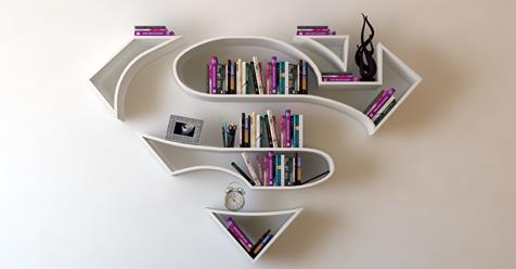 Bookshelves Shaped Like Superhero Logos Add a Special Flair to Any Secret Lair