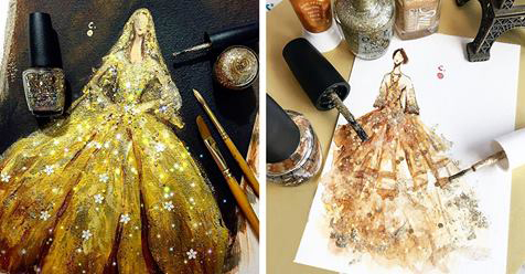 Artist Creates Dazzling High Fashion Sketches with Carefully Coated Nail Polish