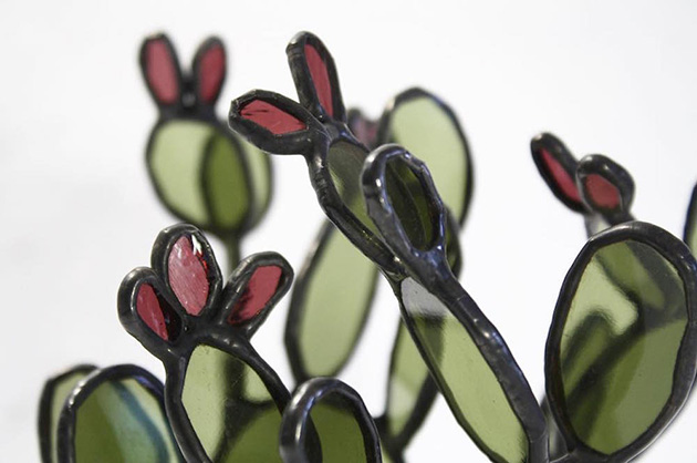 bespoke stained glass succulents