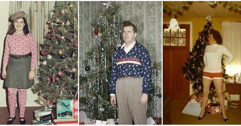 18 Humorous and Playful Vintage Snapshots of People Standing Next to Their Christmas Trees