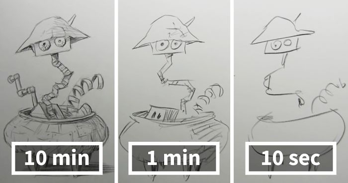 Speed Drawing Challenge Asks Artists To Sketch In 10 Mins, 1 Min, And 10 Secs