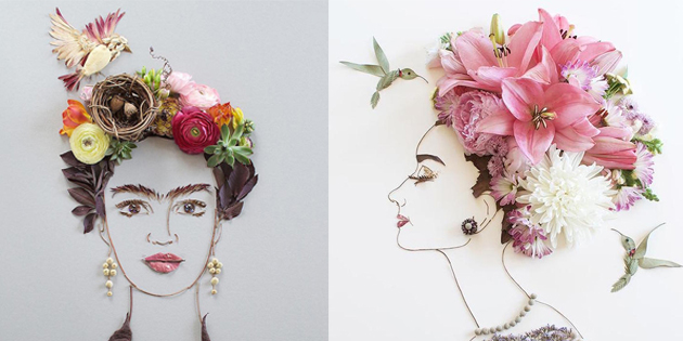 Artist Arranges Blossoms and Leaves Into Exquisite Floral Portraits