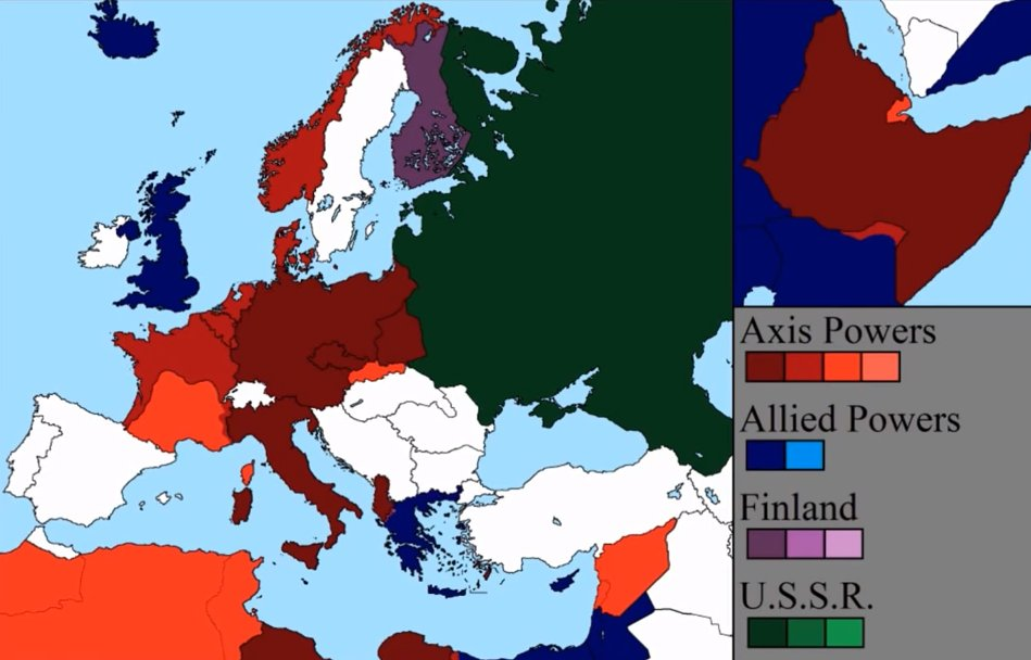 Axis And Allied Powers During Wwii Map Europe Showing