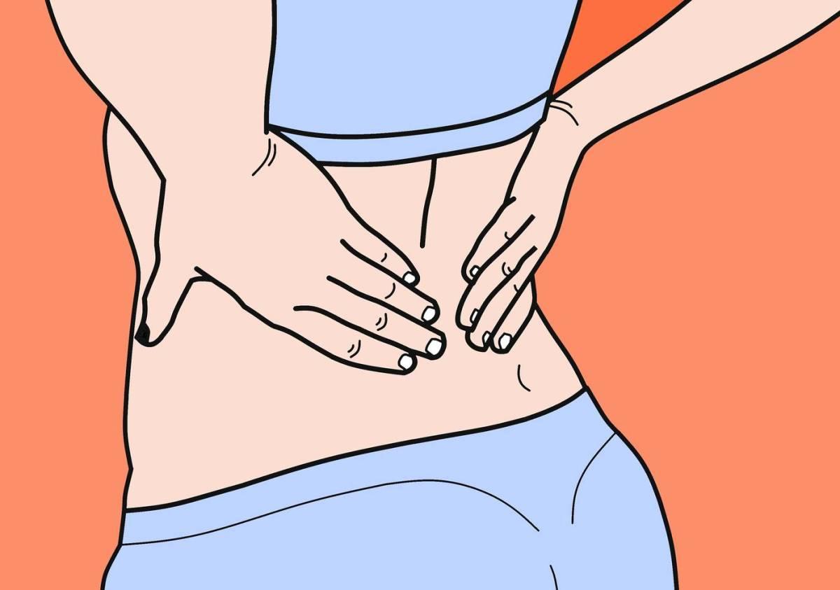 Ilustración de manos en la espalda baja