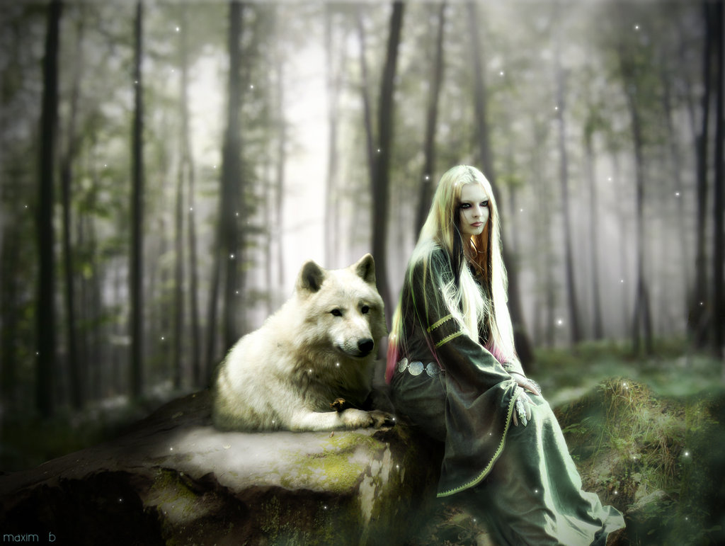 The girl and wolf by maxim-b