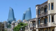 The Flame Towers in Baku, Azerbaijan, 2012. Architects: Hellmuth, Obata and Kassabaum.