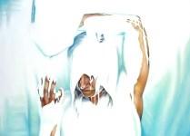 "Untitled DOCUMENTATION OF JENNIFER LOCKE'S ""GLUE"" PERFORMANCE OIL ON CANVAS 80″X100″"