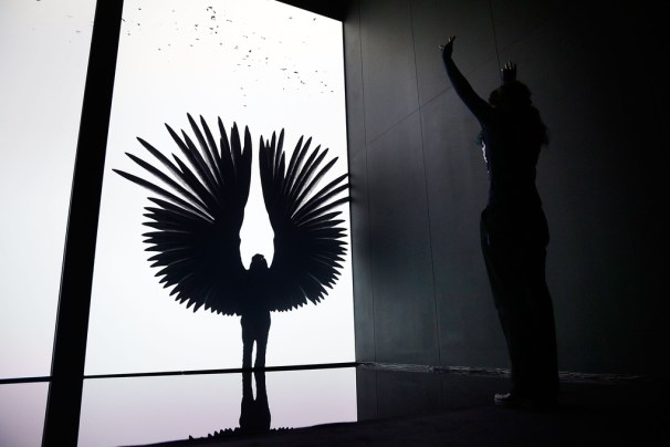 The Treachery of Sanctuary by Chris Milk uses Kinect cameras and 3D graphics to form a modern take on shadow play. Broken into three sections, it explores birth, death, and transfiguration — the third section augments giant wings onto your silhouette.