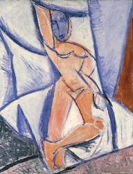 "Nude with Raised Arm and Drapery (Study for ""Les demoiselles d'Avignon"") Pablo Picasso Date: Paris, spring–summer 1907 Medium: Oil on canvas"