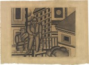 Two Figures in the City Fernand Léger Date: 1924 Medium: Graphite on tan wove paper