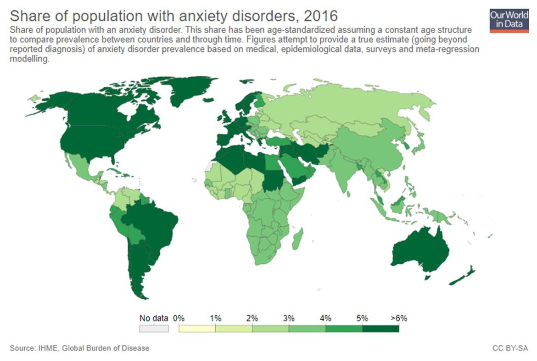 Percentagem população mundial ansiedade 2016