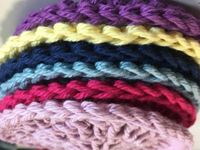 multi coloured crochet face scrubbies