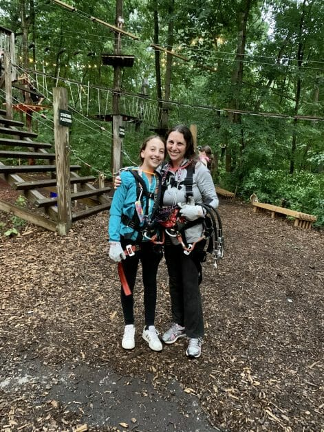 A mother & daughter at Adventure Park Long Island. Zipline & Ropes Courses on Long Island.