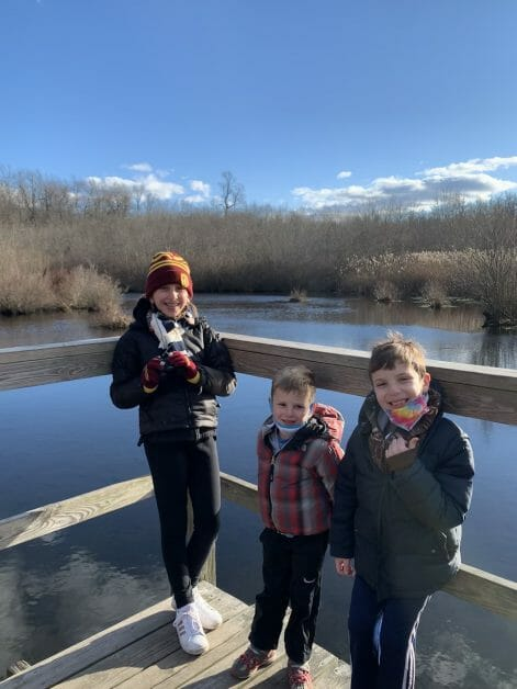 More Family Hikes on Long Island, 3 kids at Shu Swamp Preserve