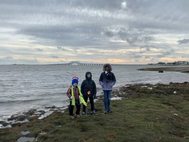More Family Hikes on Long Island, 3 kids at the water's edge at Gardiner Park