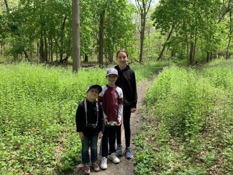 More Family Hikes on Long Island, 3 kids at Manetto Hills Park