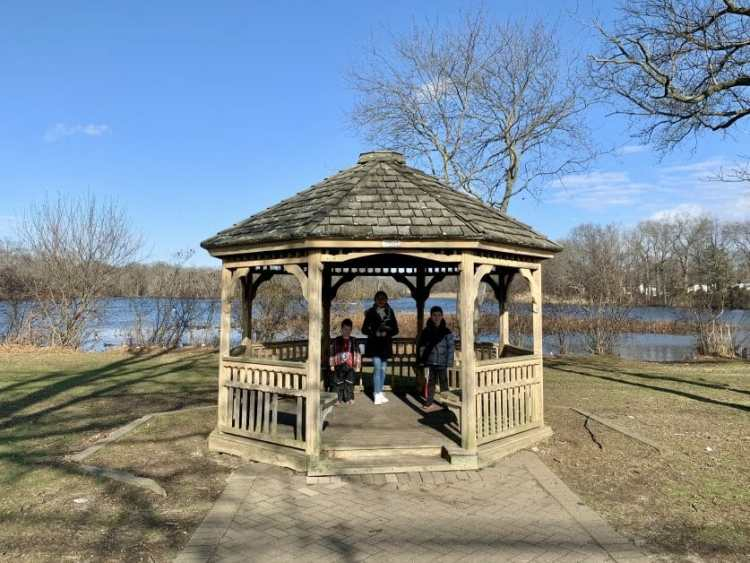 More Family Hikes on Long Island, 3 kids at Mill Pond Park