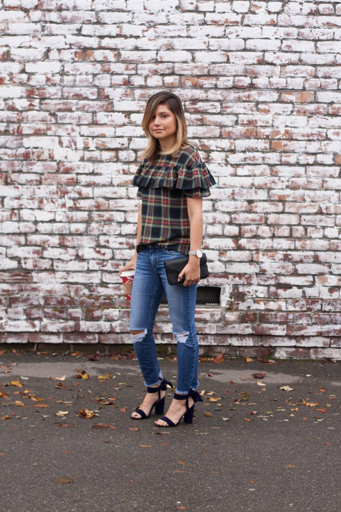 holiday outfit, plaid blouse, velvet shoes