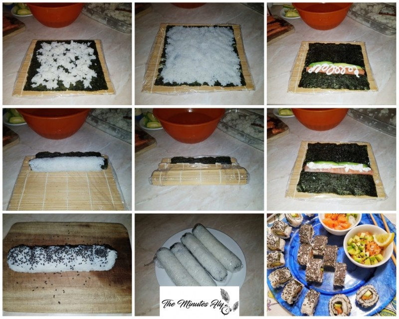 sushi - uramaki philadelphia roll - uramaki sake avocado - uramaki spicy sake - uramaki spicy salmon - nadia coppola - fatinasweet - the minutes fly