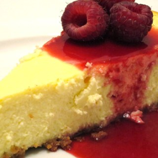 New York Cheesecake with Raspberry Sauce